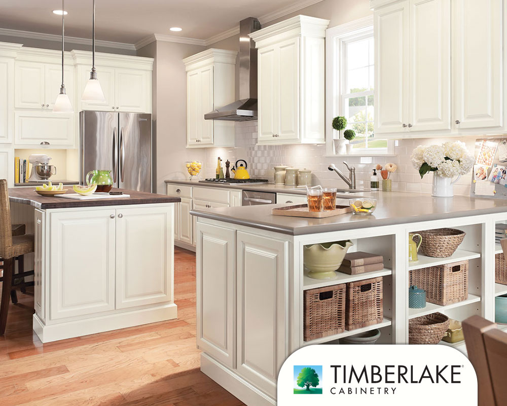 White and Stanless Steel Timberlake Kitchen Cabinets