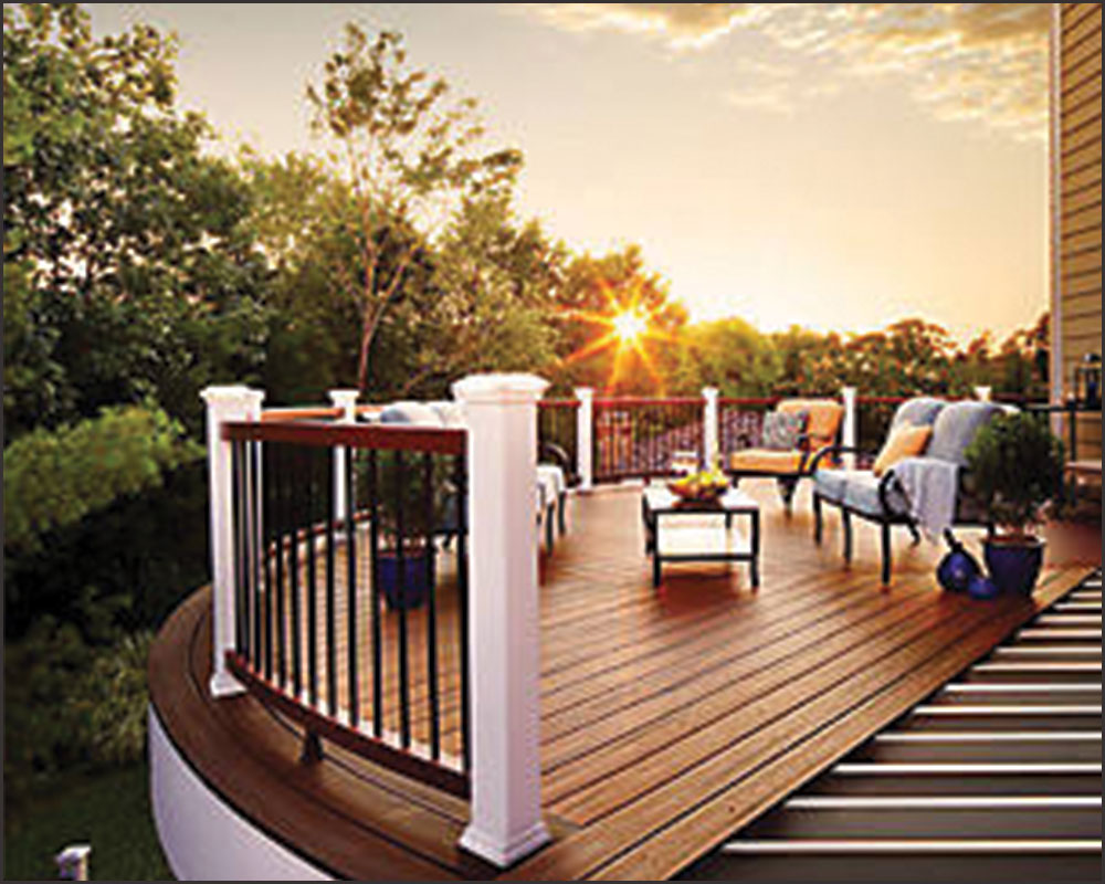 Trex composite decking with sunset