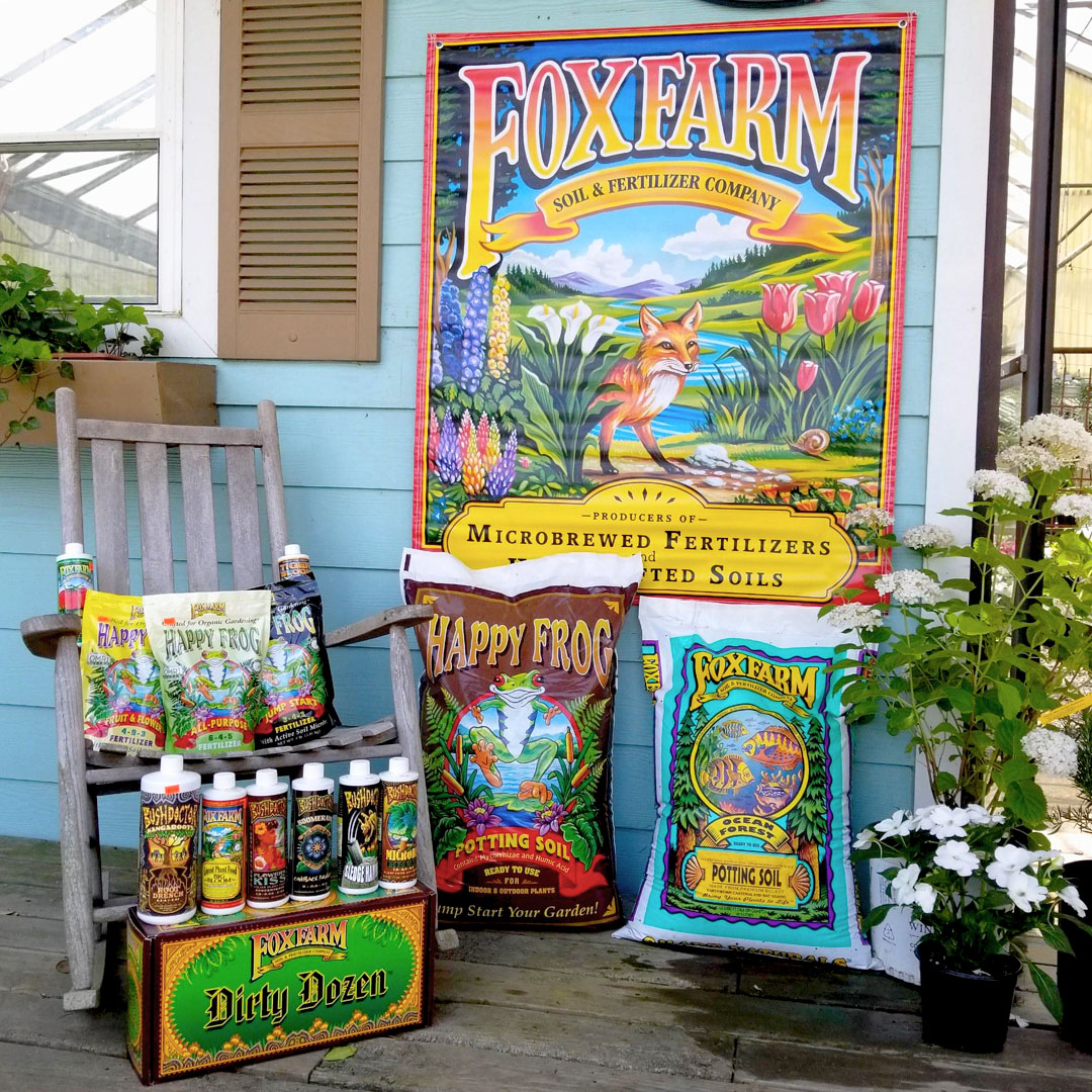 Fox Farms Potting Soil and Fertilizers, including their Dirt Dozen product line.